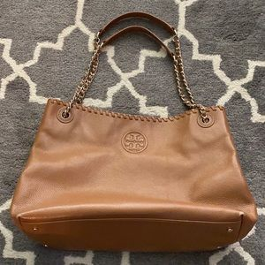 Tory Burch Brown pebble leather handbag